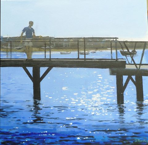 Joyce Ringrose Blue Water at Mudeford Jetty £140 framed