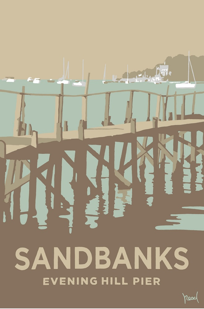 Steve Read, Sandbanks Evening Hill Pier £240 framed